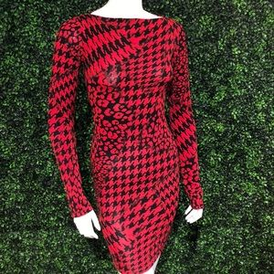 Red HoundsTooth Dress